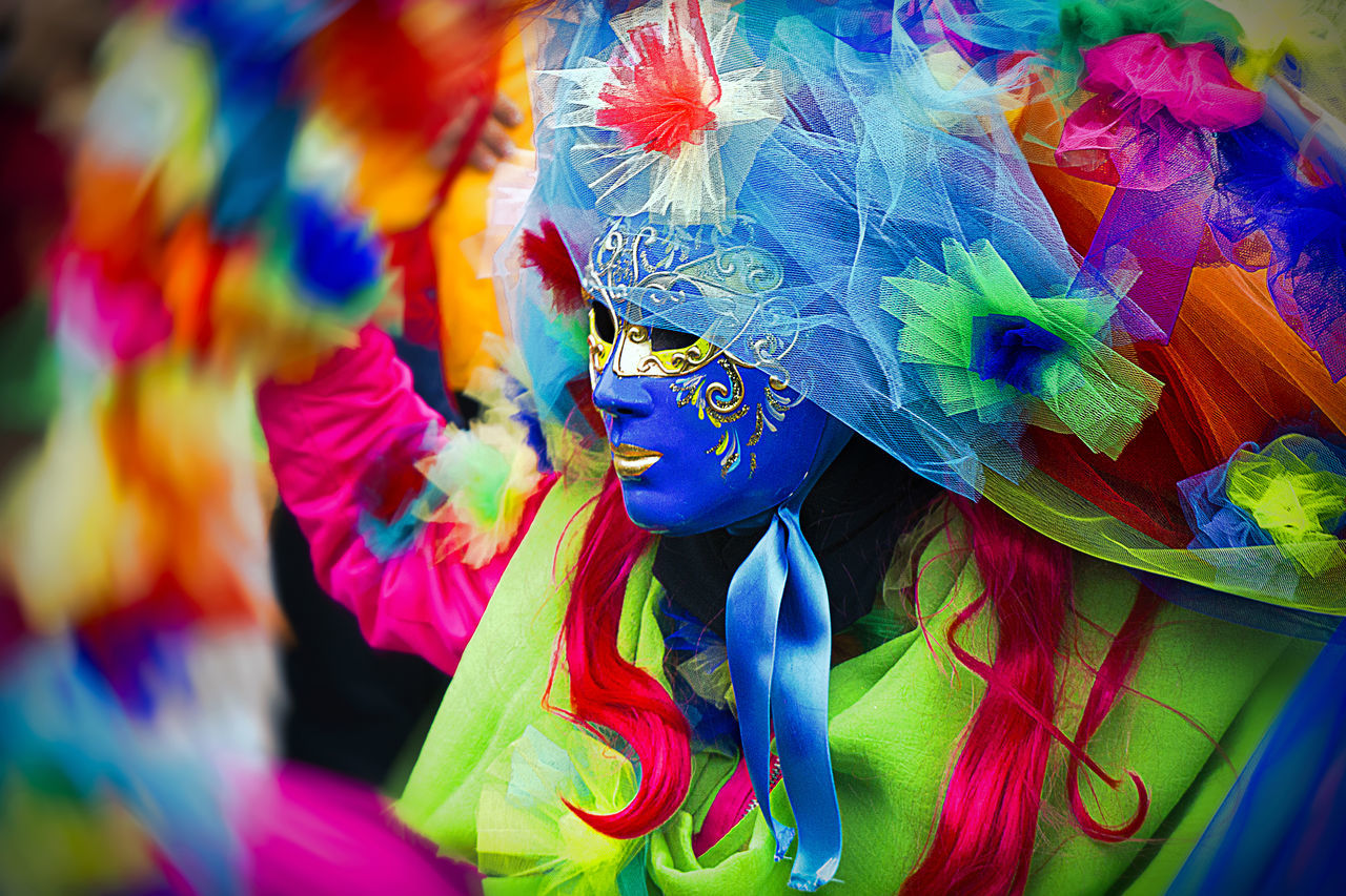 multi colored, for sale, feather, retail, no people, venetian mask, close-up, day, outdoors