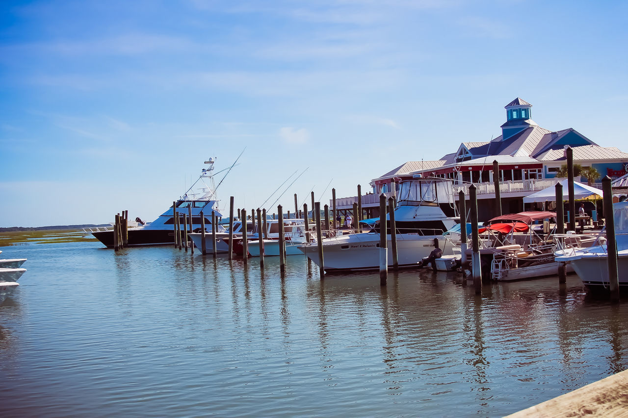 Architecture Building Exterior Built Structure Day Harbor Mode Of Transport Moored Murel's Inlet Sc Nature Nautical Vessel No People Outdoors Sea Sky Transportation Water Waterfront