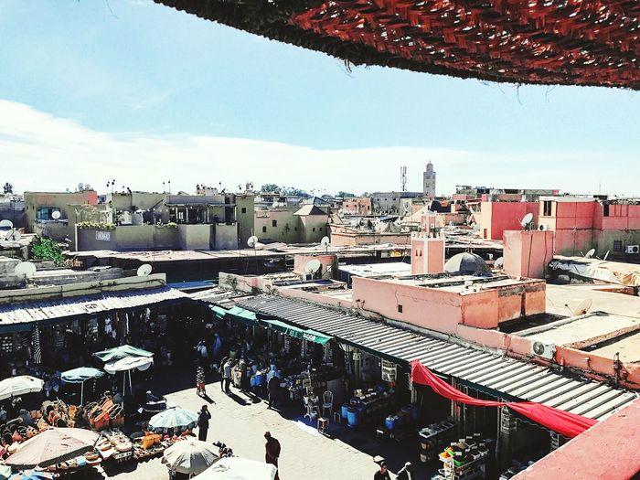 Morroco Marrakech Souks Markets Cityscape Rooftops
