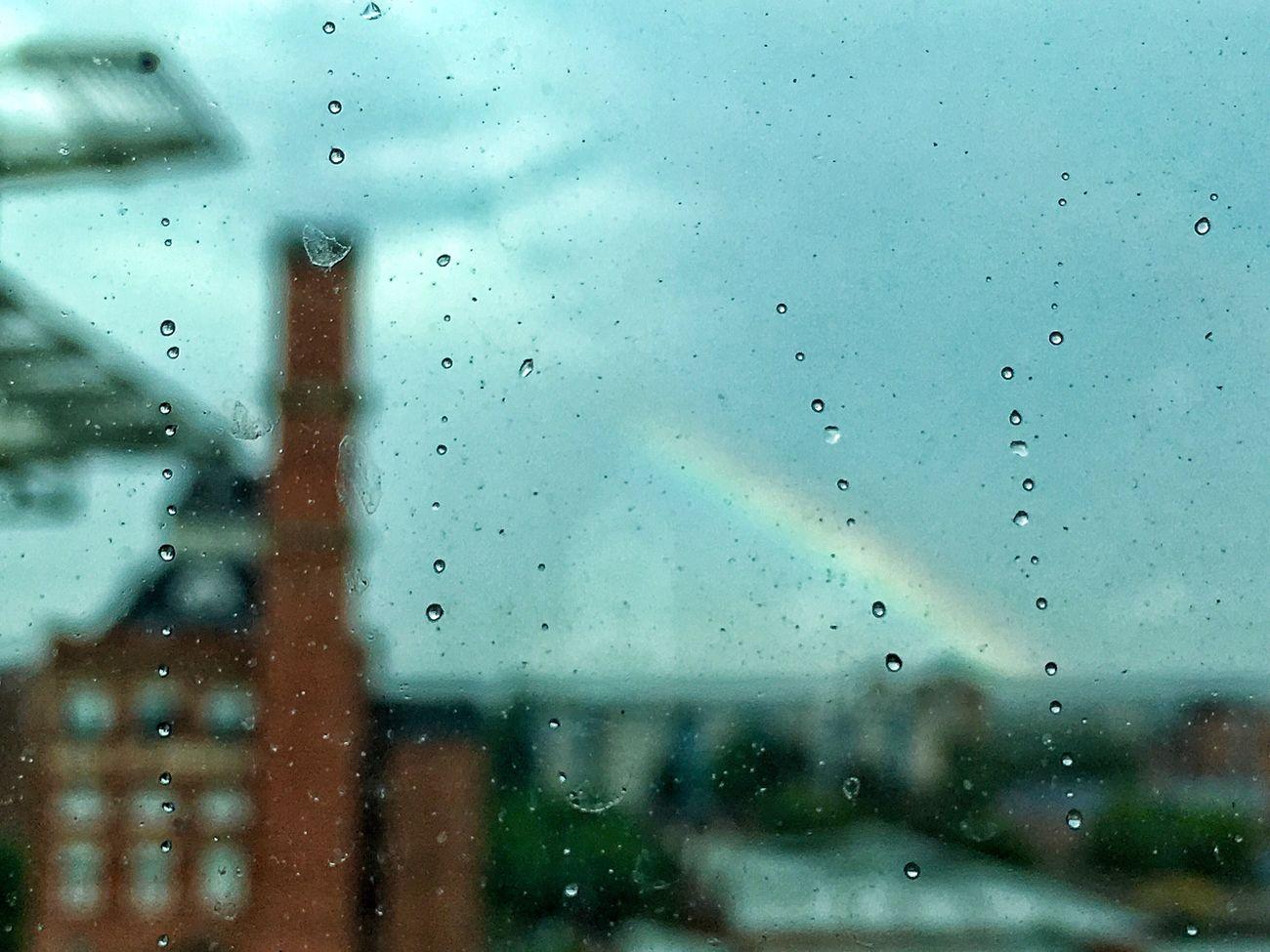 Salford 'bow Salford Rainbow Raindrops Cityscapes Trinity Bridge House Chapel Street Window Rain Sun