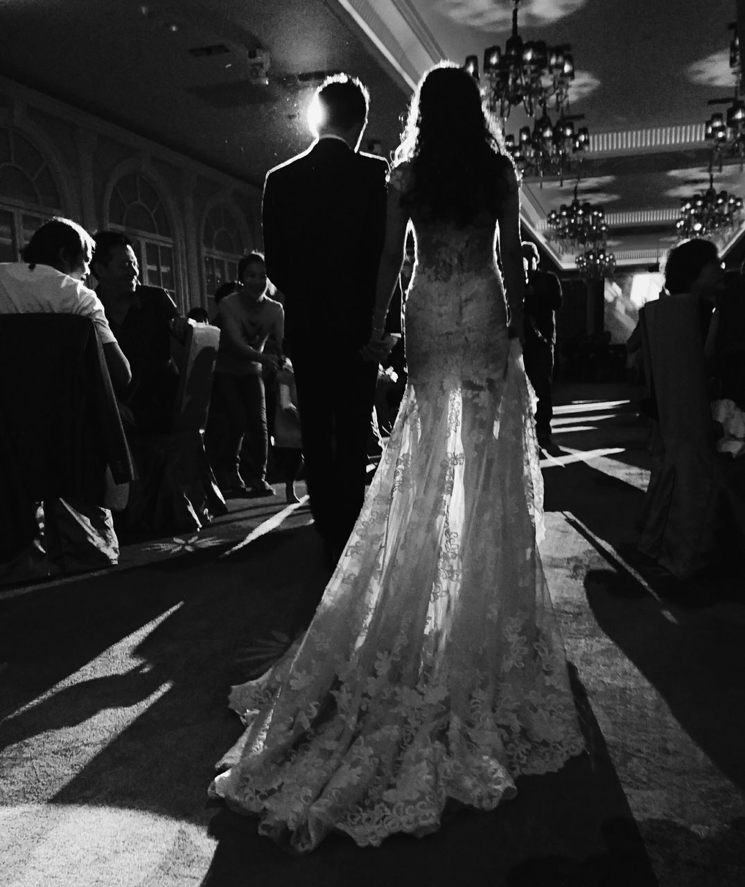 bride, celebration, wedding, women, life events, wedding dress, large group of people, real people, bridegroom, men, love, well-dressed, wedding ceremony, togetherness, groom, full length, ceremony, night, outdoors, adult, people