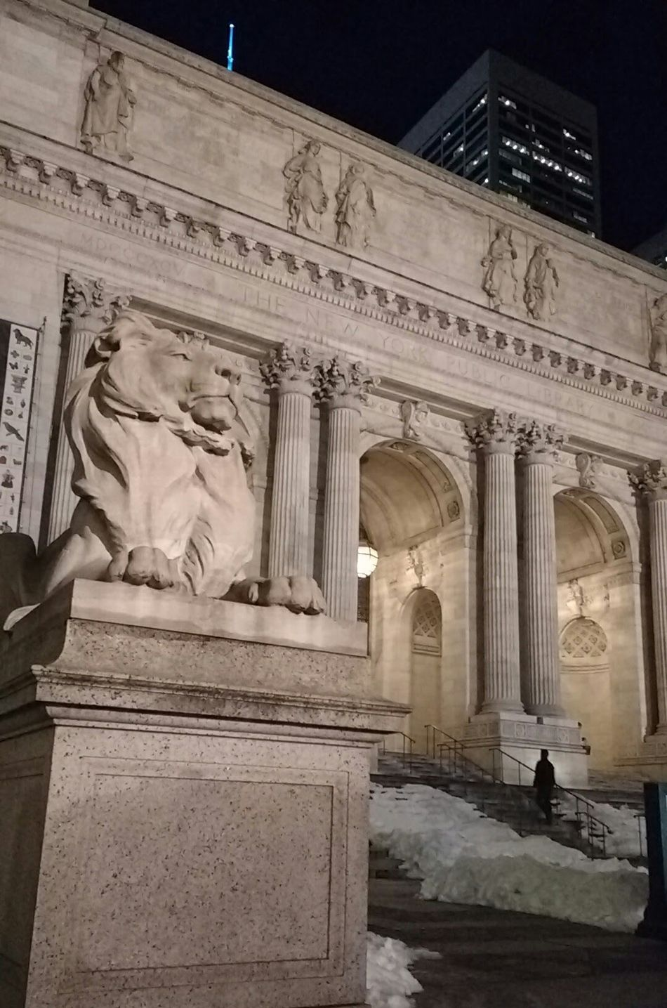 Learn & Shoot: After Dark Mid Manhattan Library Manhattan Night Outdoors Light Entrance Doorway Low Light Night Street Sculpture Lion Building