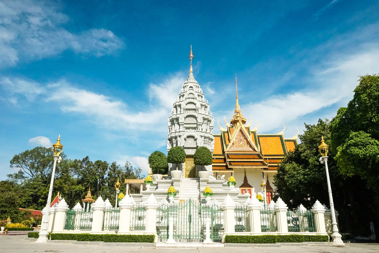 Architecture ASIA Borom Ratanak Kout Building Exterior Built Structure Cambodia Cloud - Sky Cultures Day Gold Gold Colored No People Norodom Place Outdoors Place Of Worship Religion Royal Palace Royal Tomb Sihanouk Sky Spirituality Travel Destinations Tree Shrine Stupas