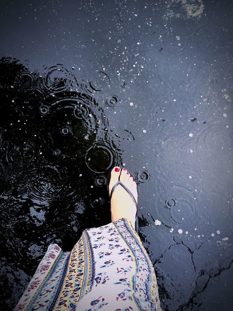 California Girl Caught In A Rainstorm Rain Rainy Days Pedicures  Foot Parking Lot Puddle Raindrops Forgot Rain Boots
