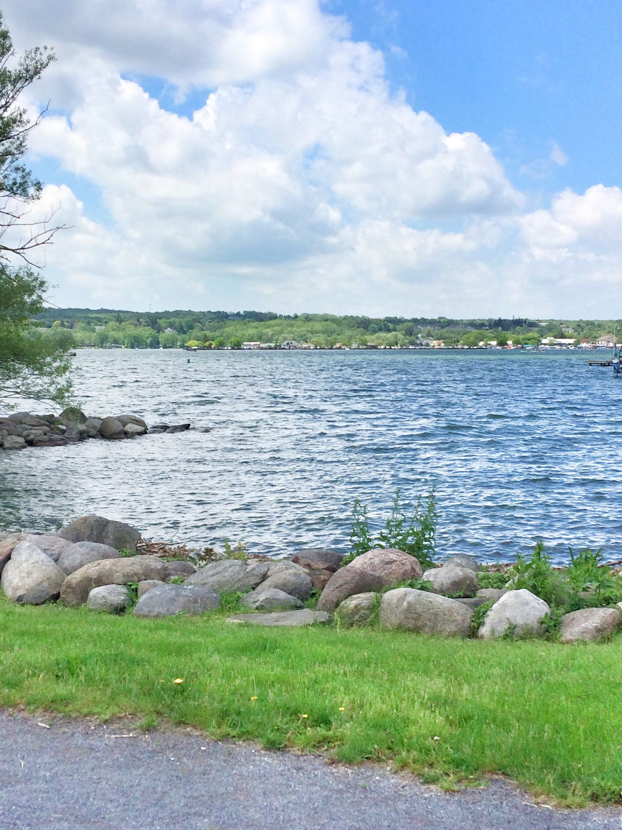 Canandaigua Lake. Canandaigua Water Sky Sky And Clouds Lake Cloud - Sky Nature Grass Beauty In Nature Day Scenics No People Tranquility Tranquil Scene Outdoors Scene Tree