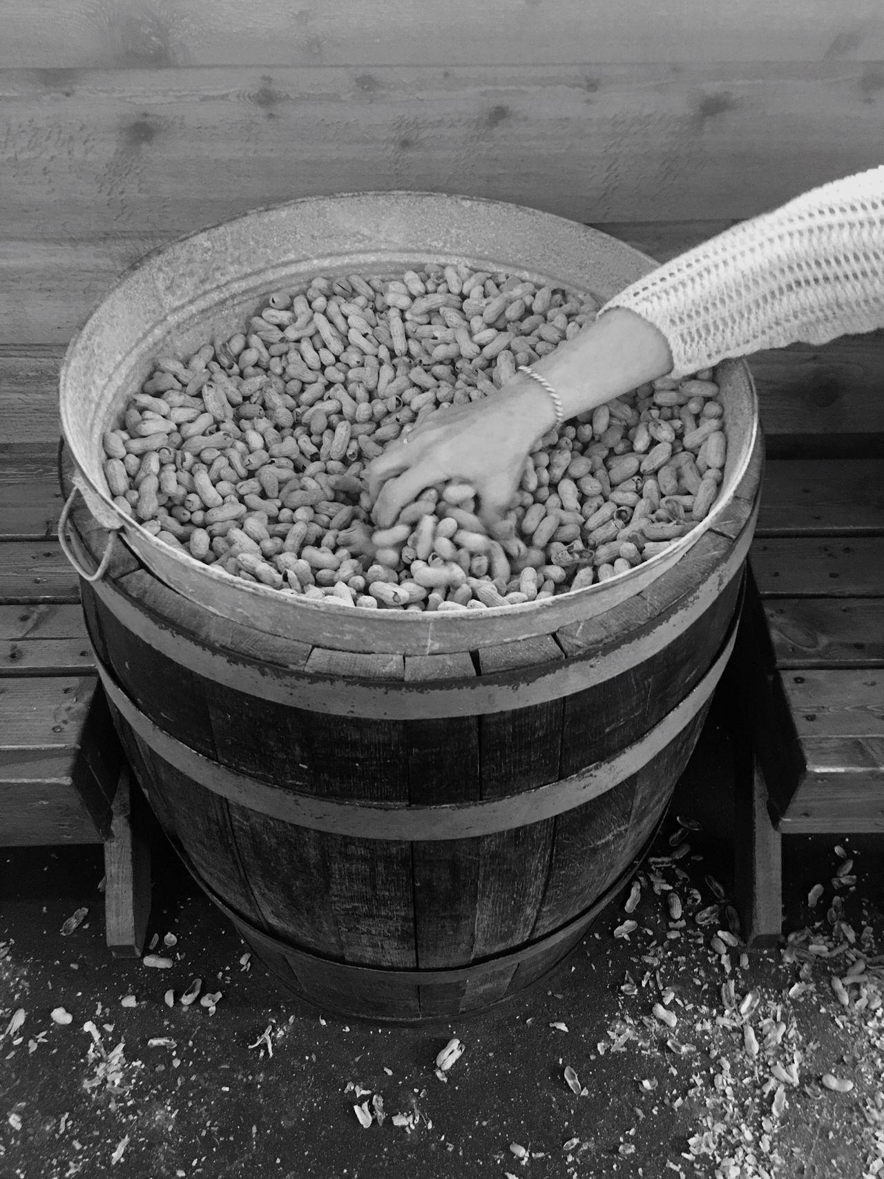 Bowl Day No People Outdoors Peanuts Barrel Hand Arm Reaching Grabbing A Bite Grabbing