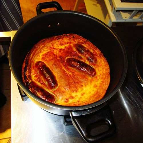 Toad in the hole cooking in the Remoska with Cumberland Sausages and Yorkshire Pudding Food
