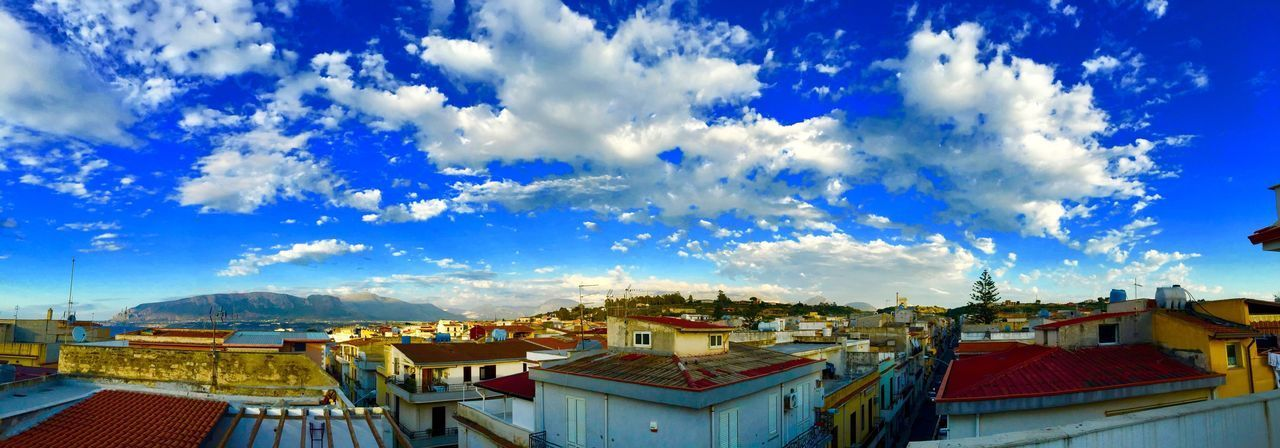 Cloud - Sky Sky Roof Architecture Building Exterior Built Structure Blue House No People Day Outdoors Mountain Nature Tiled Roof  Italy Sicily