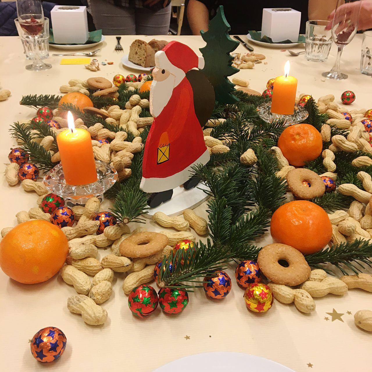 Decoration Christmas Decoration Samichlaus Nuts Mandarins Orange Candle