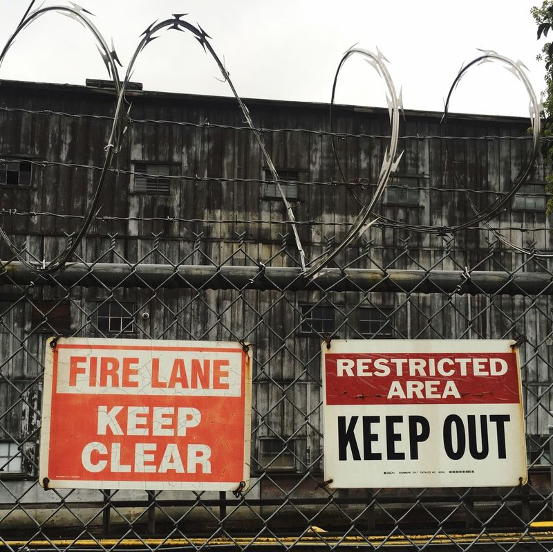 Keep Out Text Signs Architecture Building Exterior Warning Sign Industrial Vintage Workshop Shipwright