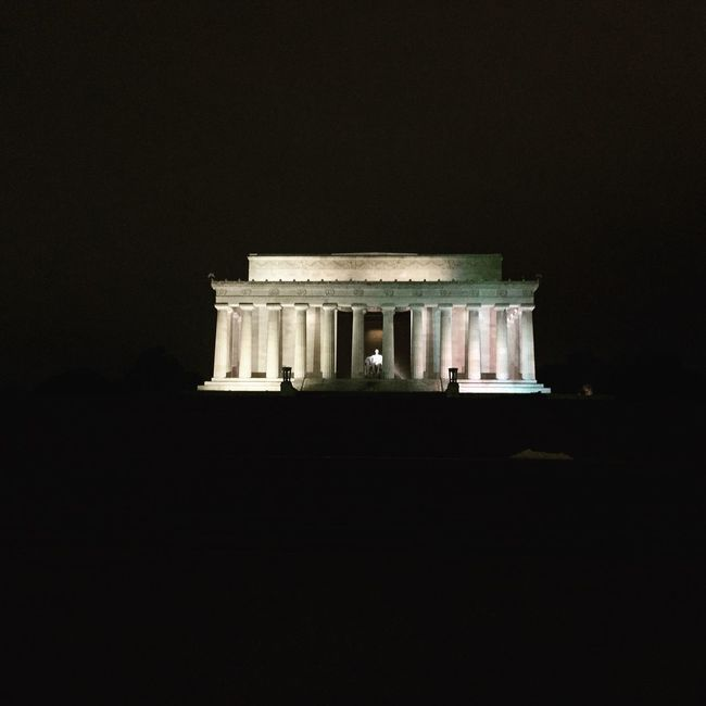 Abraham Lincoln Night Lights Photography Nightphotography IPhoneography Iphone 6 Plus Iphoneonly Memorial Relections Taking Photos Washington, D. C. District Of Columbia Knowledge Is Power Traveling Travel Photography Streetphotography Knowledge Distance Nofilter#noedit