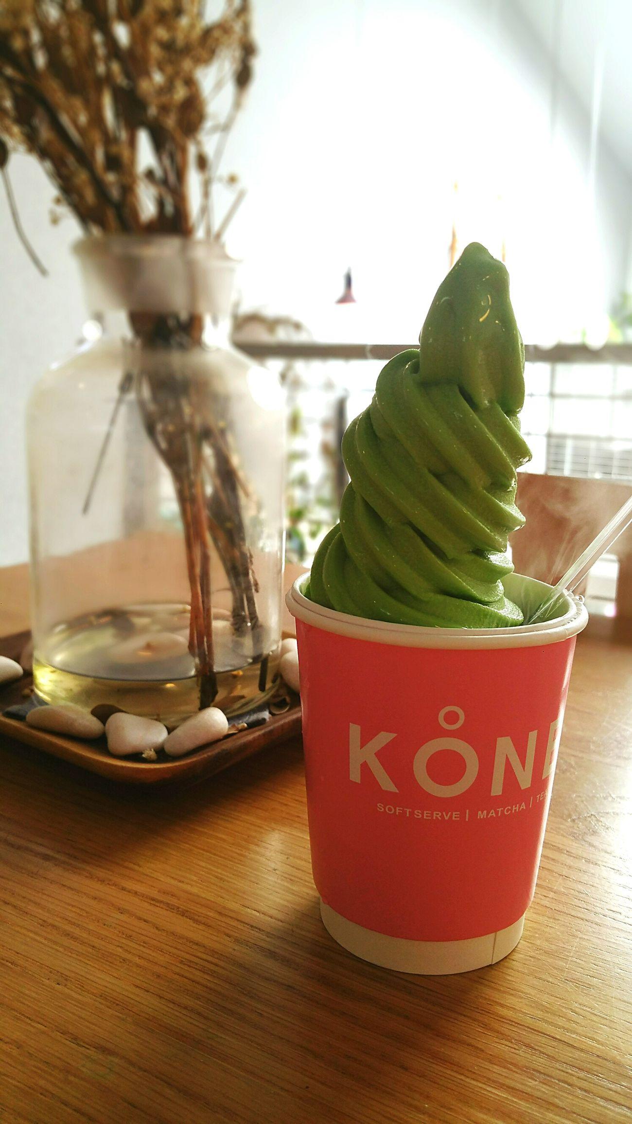 Matcha Soft Serve @koone, jb Close-up Matcha Soft Serve Ice Cream Foodporn Cafe Dry Ice Johor Bahru