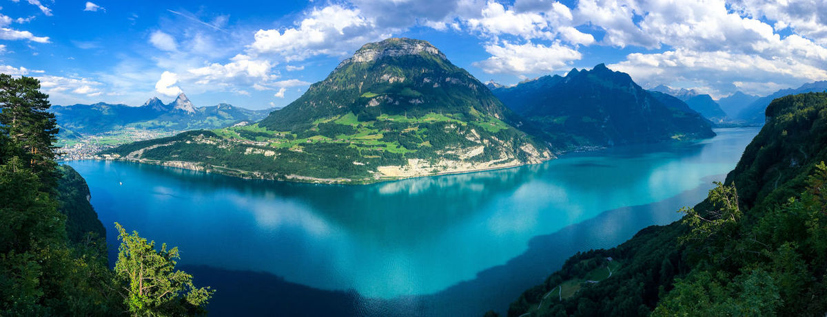Alpenpanorama Landschaft Schweiz Travel Photography Beauty In Nature Cloud - Sky Day Idyllic Lake Mountain Mountain Range Nature No People Non-urban Scene Outdoors Panoramic Reflections Scenics Sky Tranquil Scene Tranquility Travel Destinations Tree Vierwaldstättersee Water