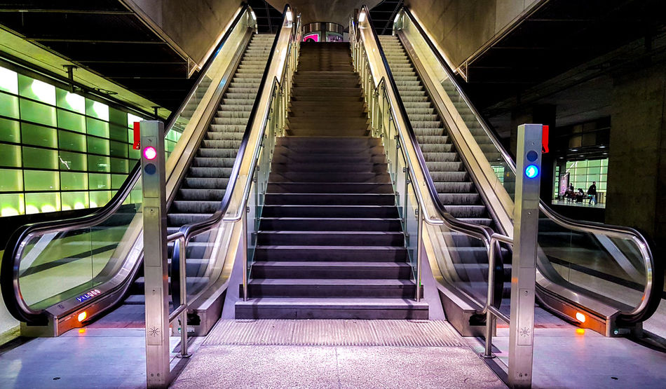 Architecture Built Structure Escalator Escalators Hand Rail Illuminated Indoors  Modern No People Railing Stair Staircase Stairs Stairway Stairways Steps Steps And Staircases Subway Subway Station Technology The Way Forward Trainstation Transportation Underground Underground Station