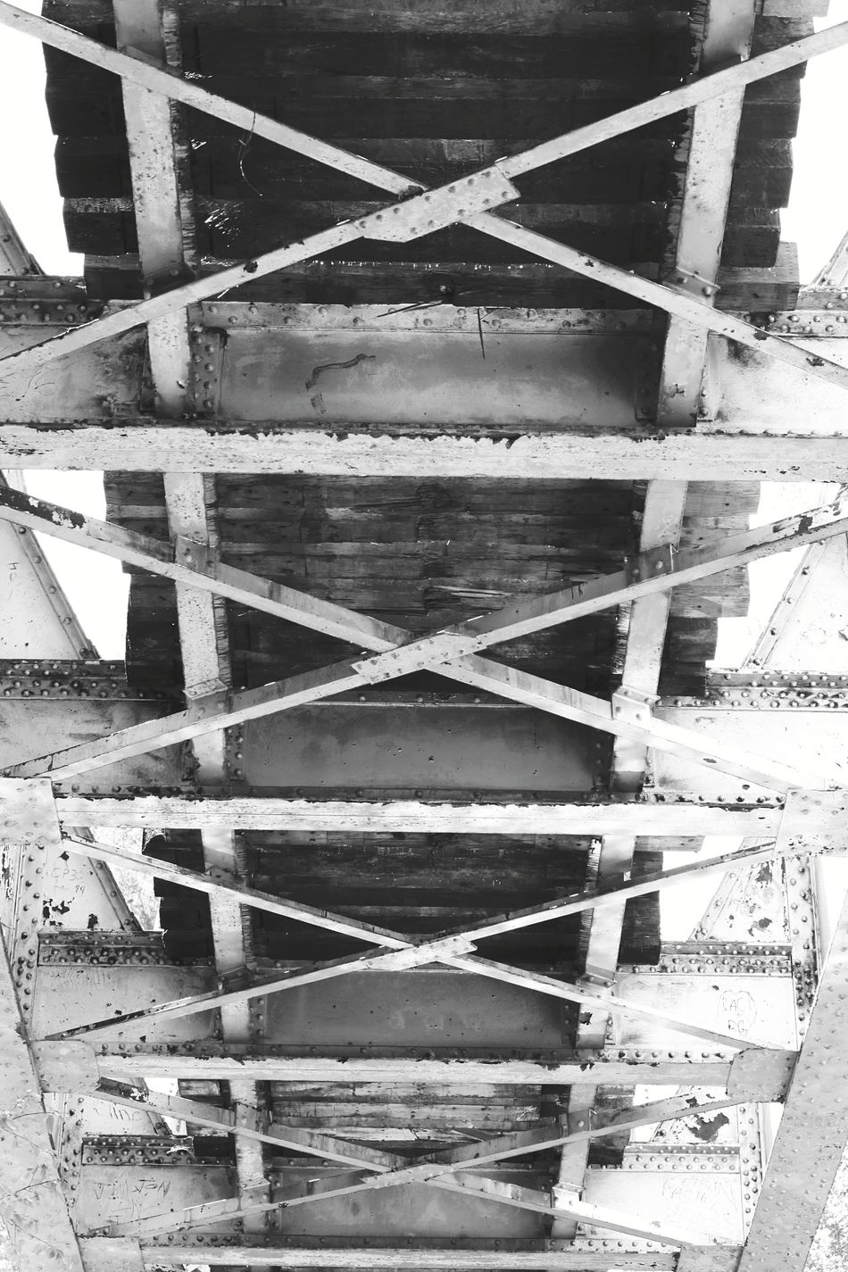 Indoors  No People Day Close-up Nature Black And White Northern California Railroad Track Bridge - Man Made Structure Bridge Textured  Landscape Under The Bridge Looking Up Under Unique Perspectives Shadows Low Angle View