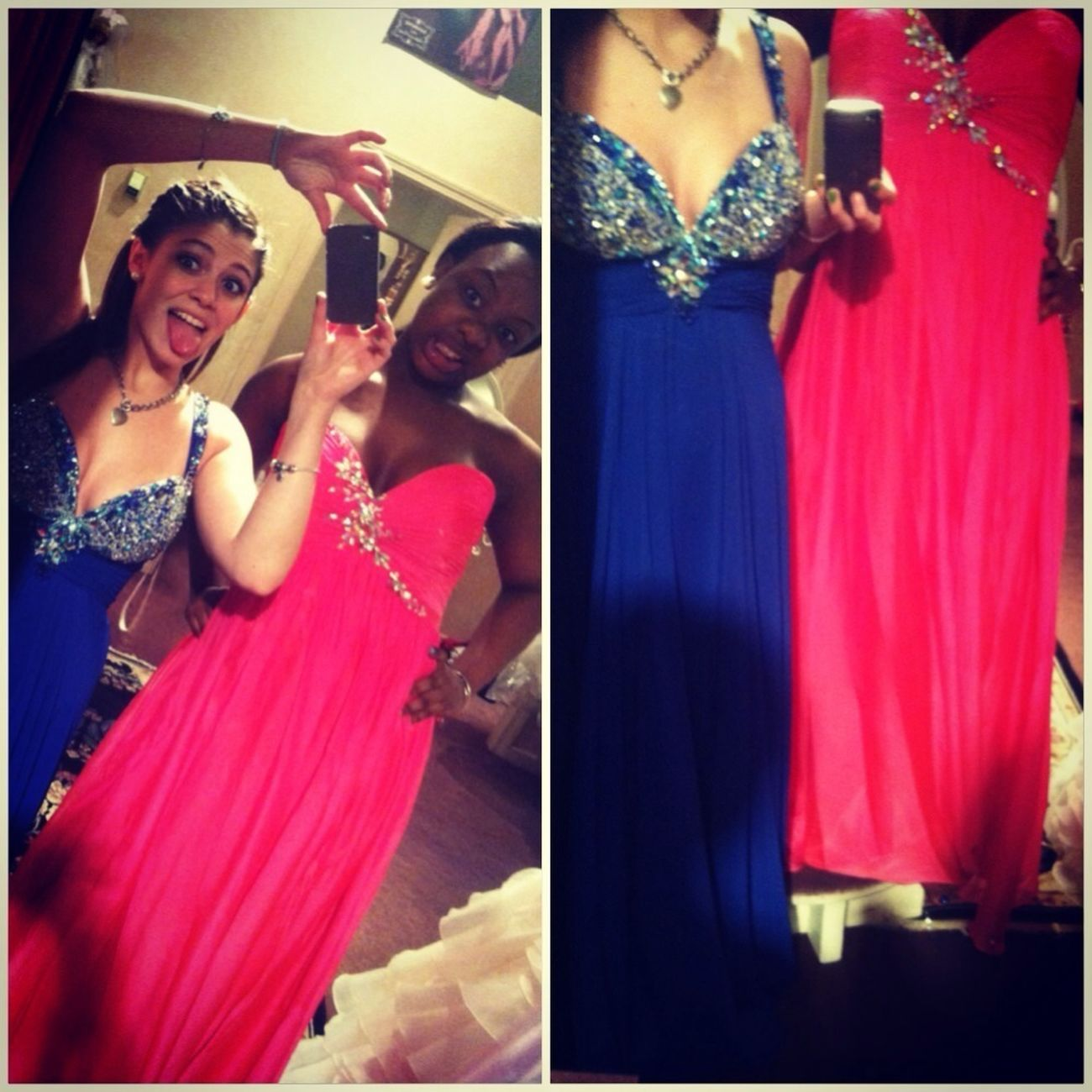 #girls #blue #pink #prom dresses #silly #faces