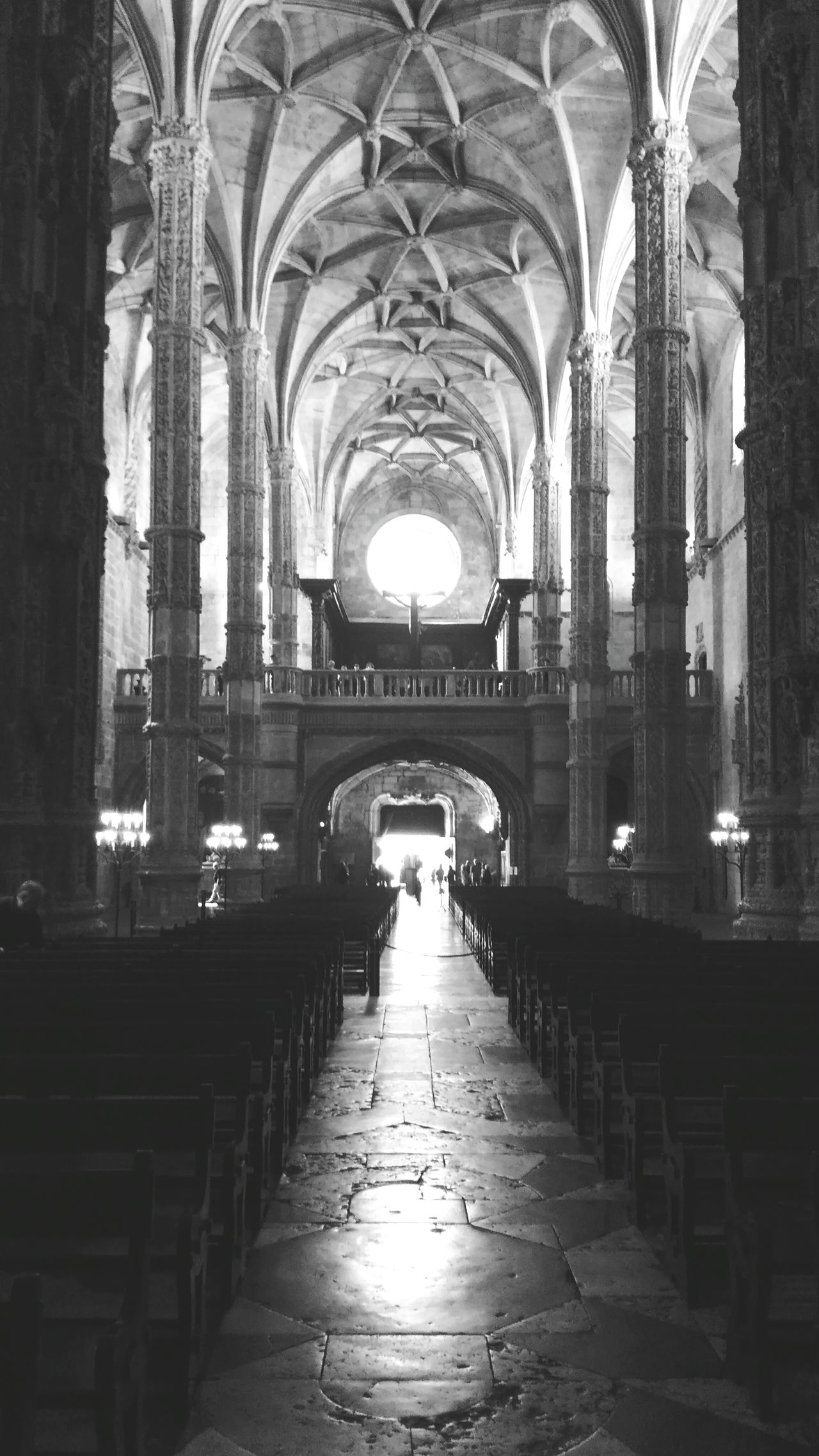 Arch Architecture Built Structure Indoors  Travel Destinations Architectural Column Place Of Worship History Religion The Way Forward Pew Day Mosteiro Dos Jerónimos Old Monastery Lisboa Portugal Place Of Worship Indoors  Black And White Photography Black And White