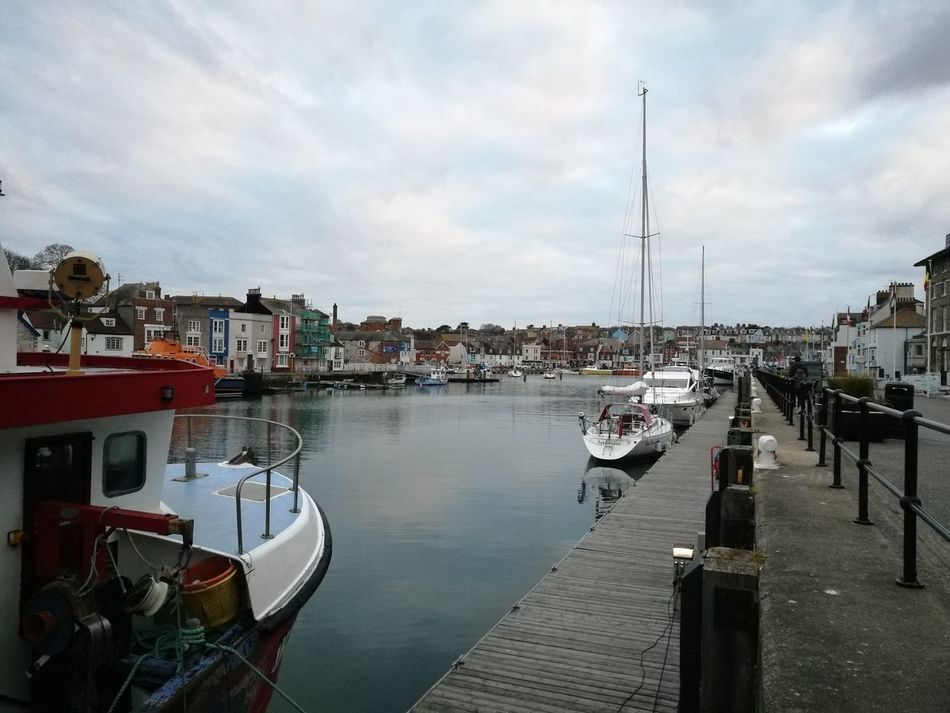 Nautical Vessel Harbor Water Outdoors Travel Destinations Cloud - Sky Sky City No People Day Moored Sea Cityscape Sailing Ship Home Weymouth For Life Weymouth Dorset Tranquility Pier Marina Sailboat Yacht Nature
