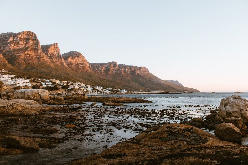 Cape Town sunset Leisure Activity Horizon Over Water Rock - Object Sea Rock Formation Beach Landscape Travel Destinations No People Outdoors Cliff Clear Sky Nature Scenics Sky Beauty In Nature Water Day Nature Nature Collection EyeEm Gallery South Africa Nature Photography The Great Outdoors - 2017 EyeEm Awards