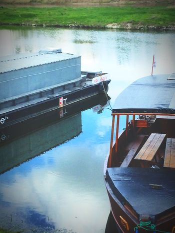 Fisherman's River. Water Reflection Lake Nautical Vessel No People Nature Day Moored Transportation Outdoors Waterfront Tranquility Built Structure Beauty In Nature Sky Boat Clear Sky Poland Photography