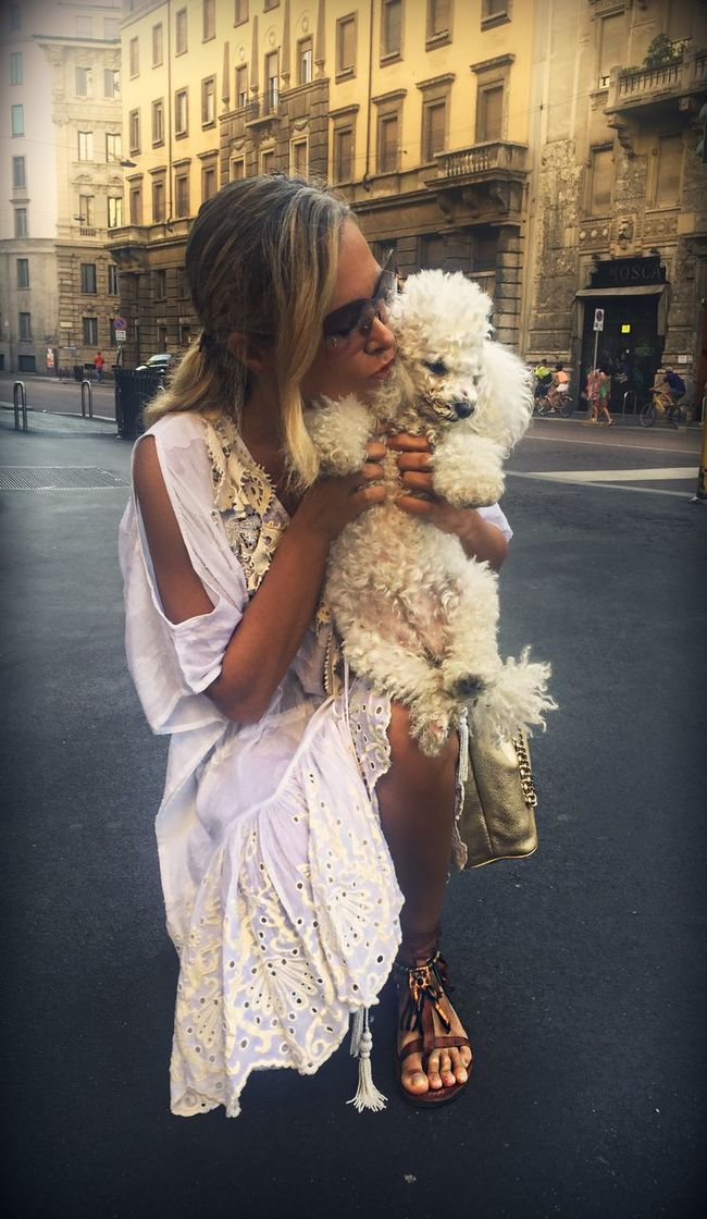 Casual Clothing Architecture Built Structure Lifestyles Building Exterior Togetherness Leisure Activity Street City Day Holding Outdoors Person Dog Poodle Kiss Love Poodle Love Poodletoy