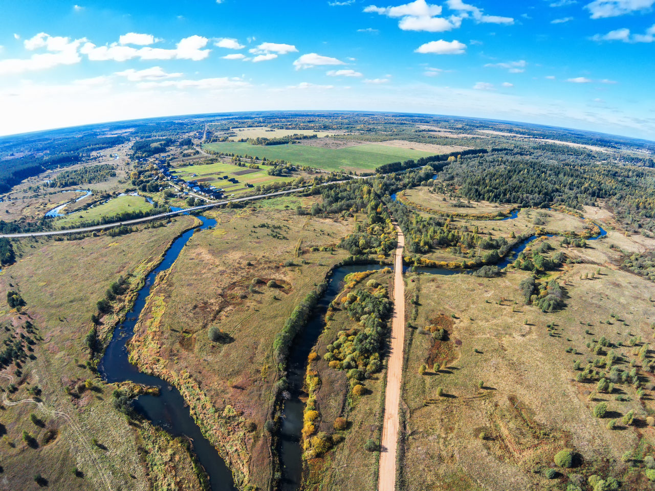 Vorozhba River flows into the river Volchina A Bird's Eye View Aerial Aerial View Beauty In Nature Blue Cloud - Sky Drone  Dronephotography Grass Growth Landscape Nature No People Outdoors River Scenics Sky Top Perspective