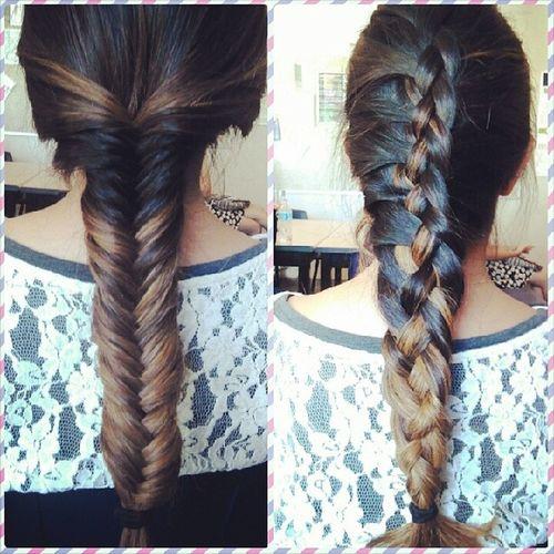 I was bored in 8th period… so I did her hair ??? 4strandbraid Fishtailbraid Productsofboredom
