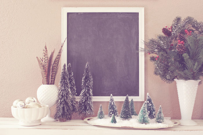 Christmas backdrop Blank Poster Chalk Board Christmas Domestic Life Greenery Holidays Home Interior Home Showcase Interior Pheasant Feathers Pine Boughs Rustic Styled Scene Winter Scene