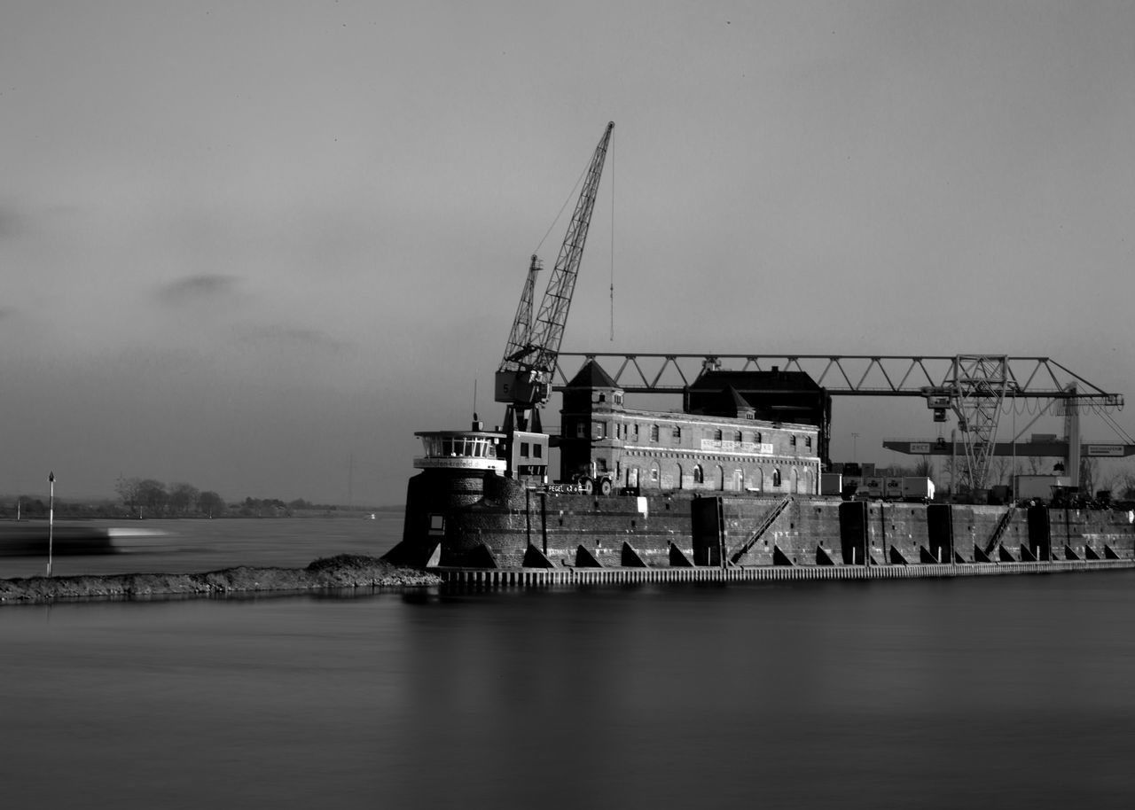 Krefeld Harbor Buidlings Architecture Black & White Black And White Blackandwhite Day Harbor Harbor Buildings Long Exposure Long Exposure Daytime Outdoors Rhine Smooth Water Water Krefeld KrefeldLinn Krefeld Rheinhafen Crane