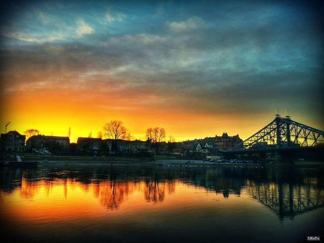 Dresden Sunset Blaues Wunder  Elbe