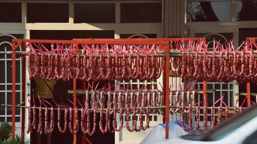 Hanging Meat Sausage Red Scenics Sunlight Row Taiwan
