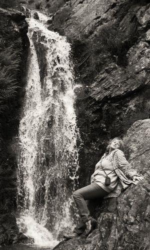 Naiad of the waterfall! Waterfall Water Naiad Female Spirit Black & White Monochrome Mature Woman Having Fun The Portraitist - 2015 EyeEm Awards The Great Outdoors - 2015 EyeEm Awards
