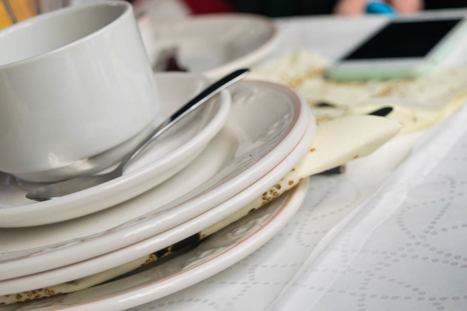 Close-up Plate No People Indoors  Day Phone Cutlery Meal Table Spoon Domestic Life Tablecloth Pile Mobile Napkin White