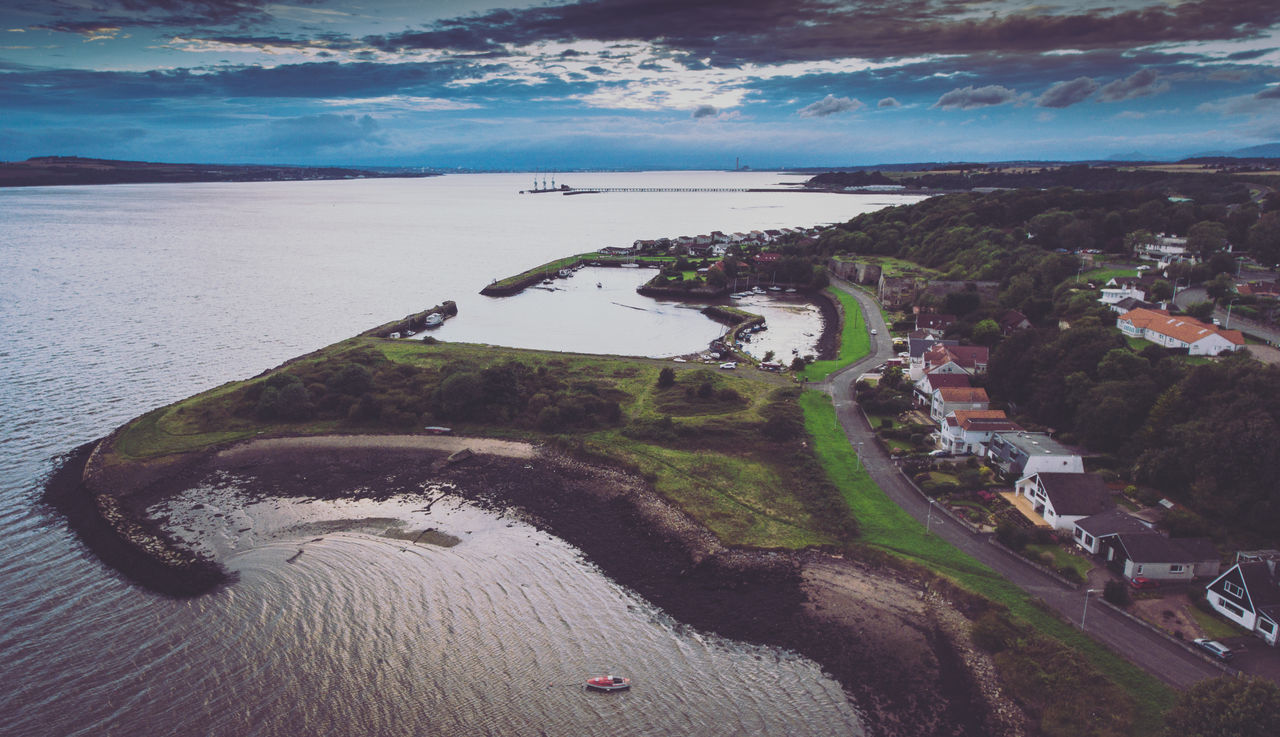 Aerial View Charlestown Day Drop Fife  Forth Harbour High Angle View Tourism Water Wide Shot