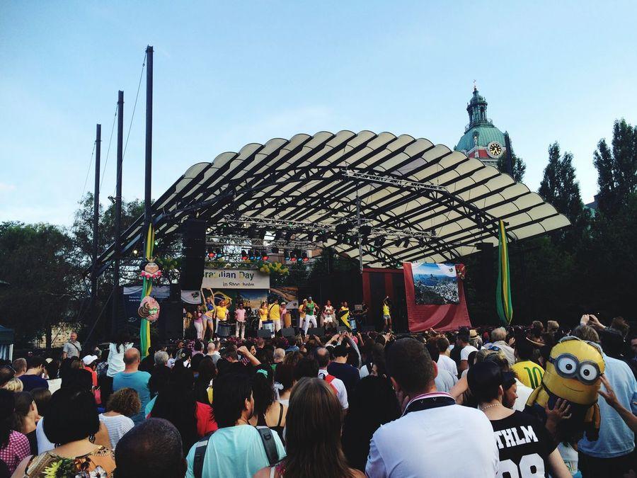 People Watching Brazilian Day in Stockholm Sweden Hej Sverige