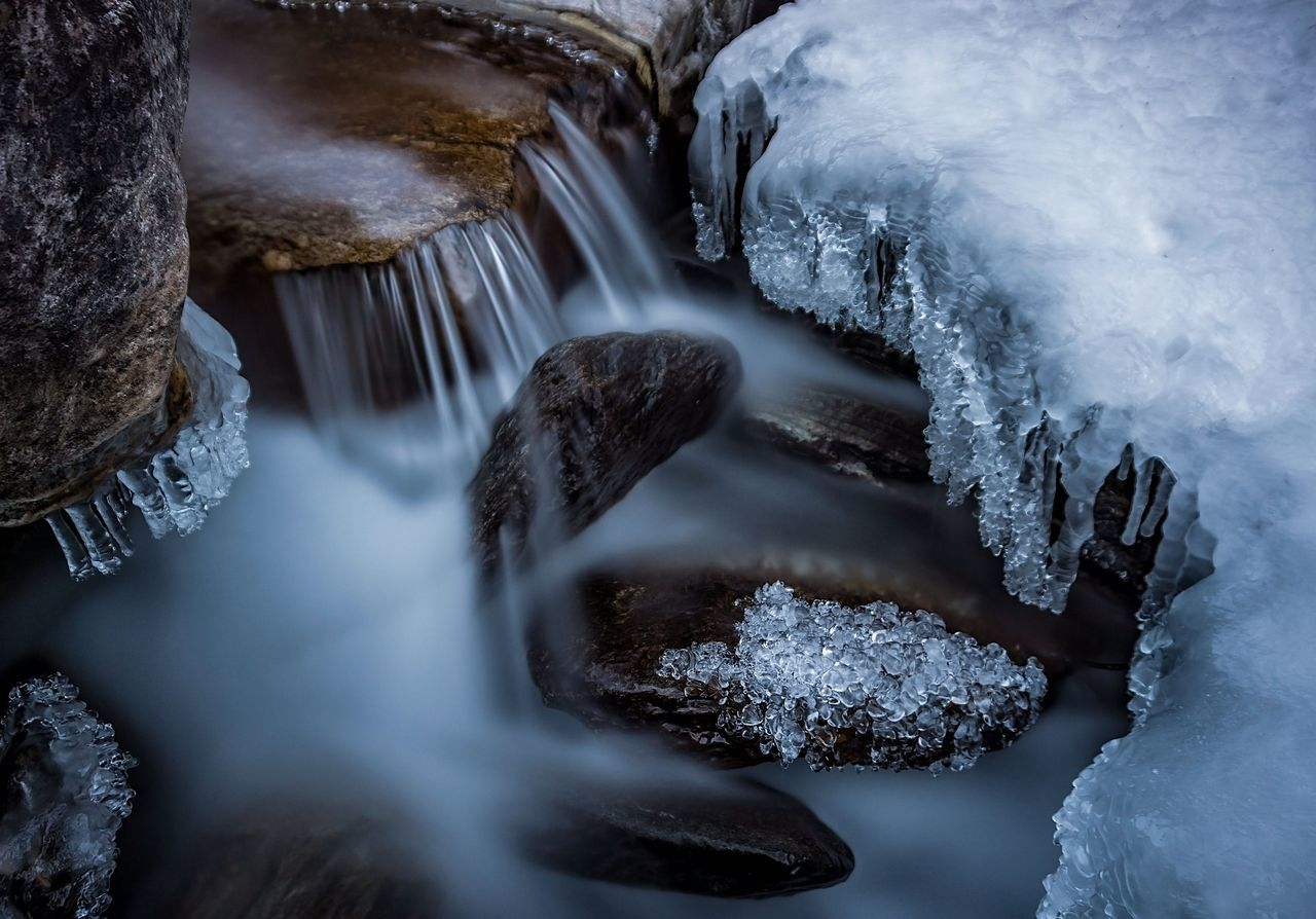 Cold Temperature Winter Nature Water Frozen Ice Waterfall Close-up Long Exposure Snow Outdoors No People Beauty In Nature Day Mountain Discover  Valley Tranquility Floating On Water Tranquil Scene
