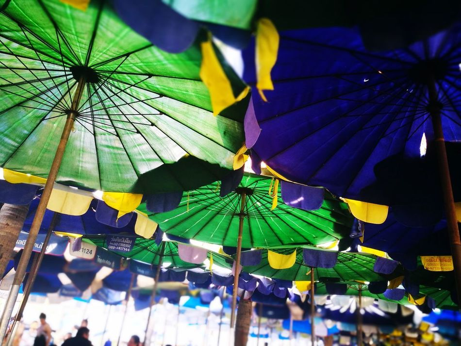 Umbrella Multi Colored Outdoors Sky Low Angle View