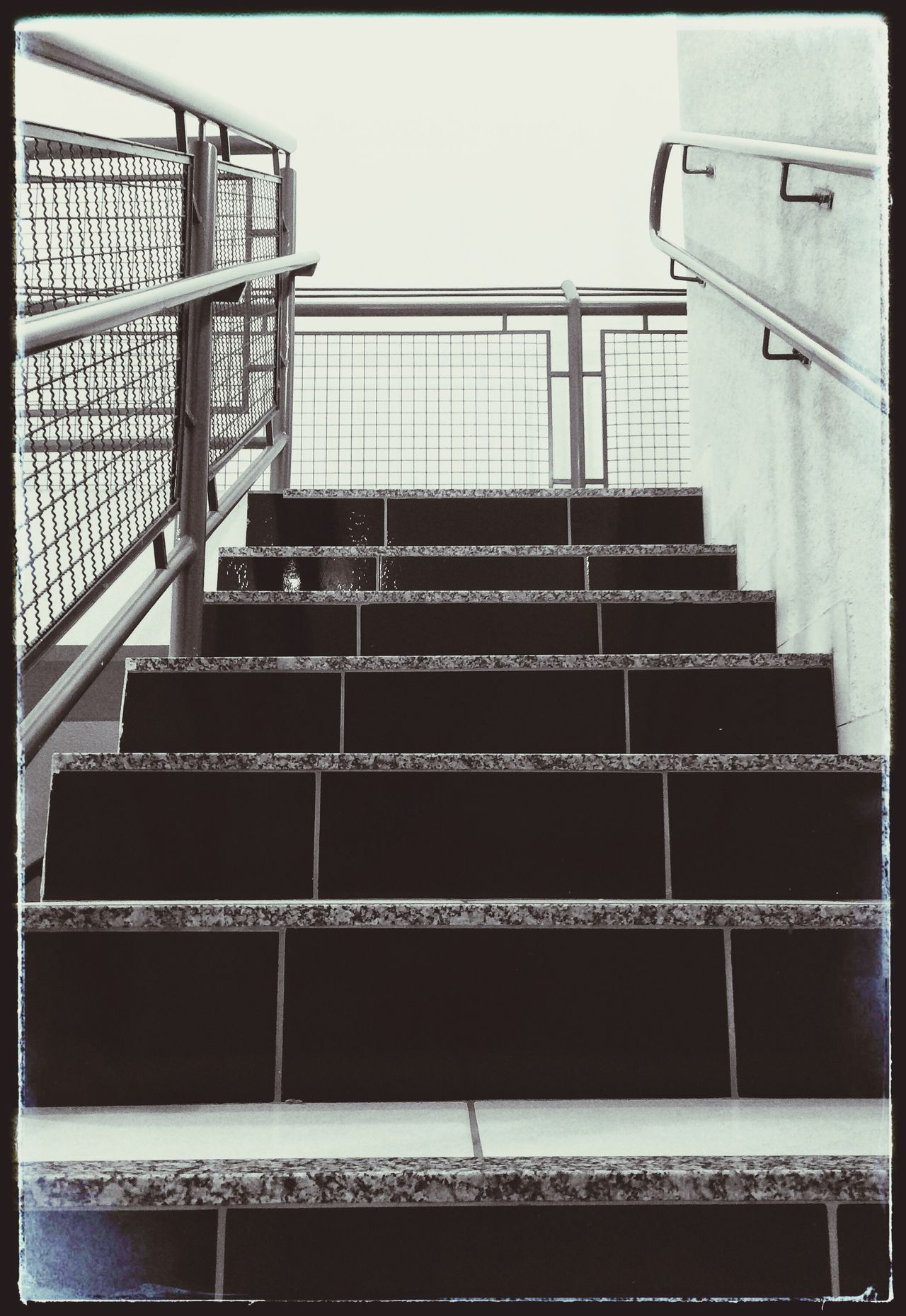 Railing Built Structure Steps Staircase Steps And Staircases Architecture Building Exterior Low Angle View No People Outdoors Stairs Clear Sky Day Sky