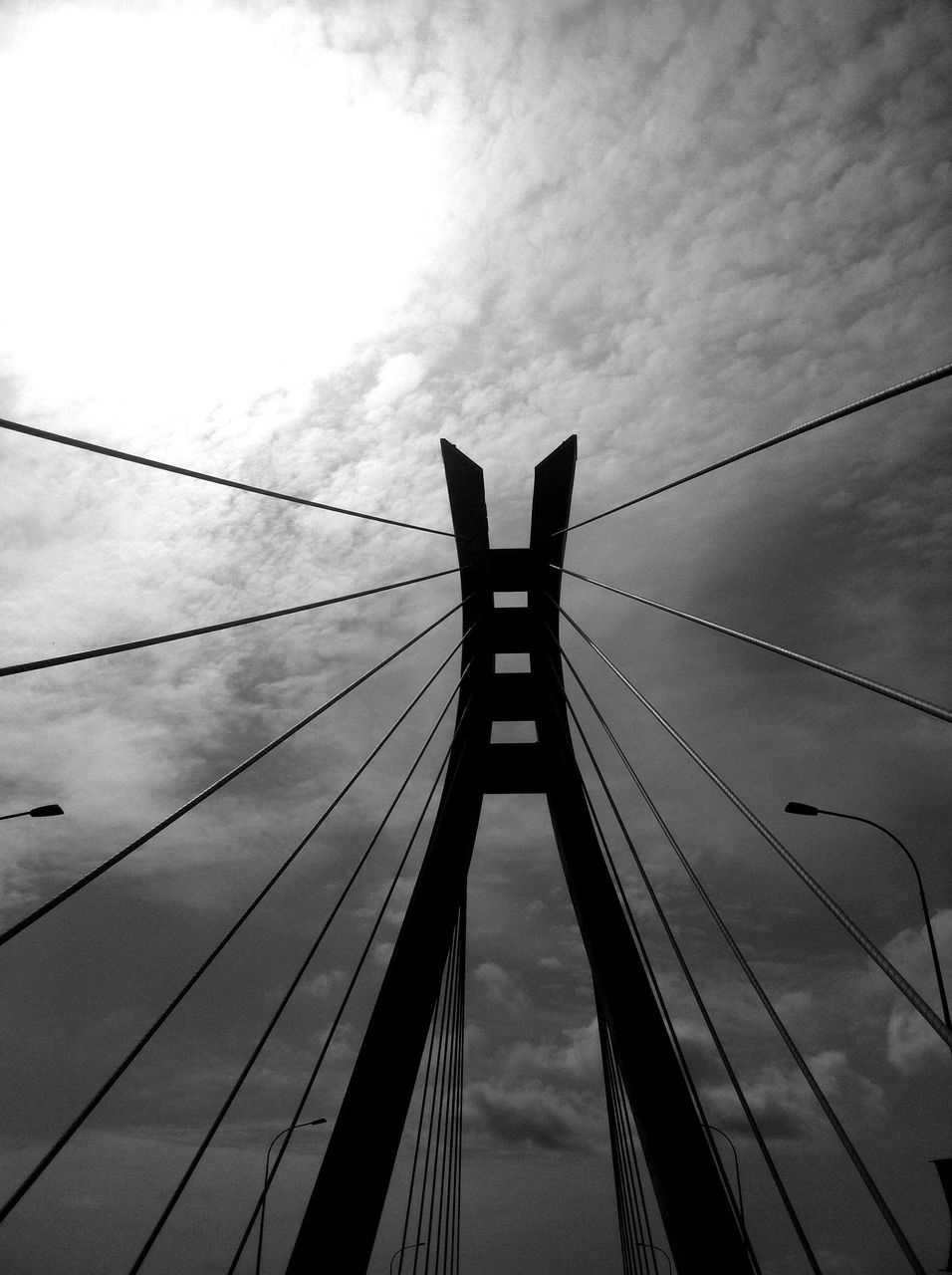 connection, sky, suspension bridge, architecture, low angle view, built structure, bridge - man made structure, cable, no people, outdoors, city, day