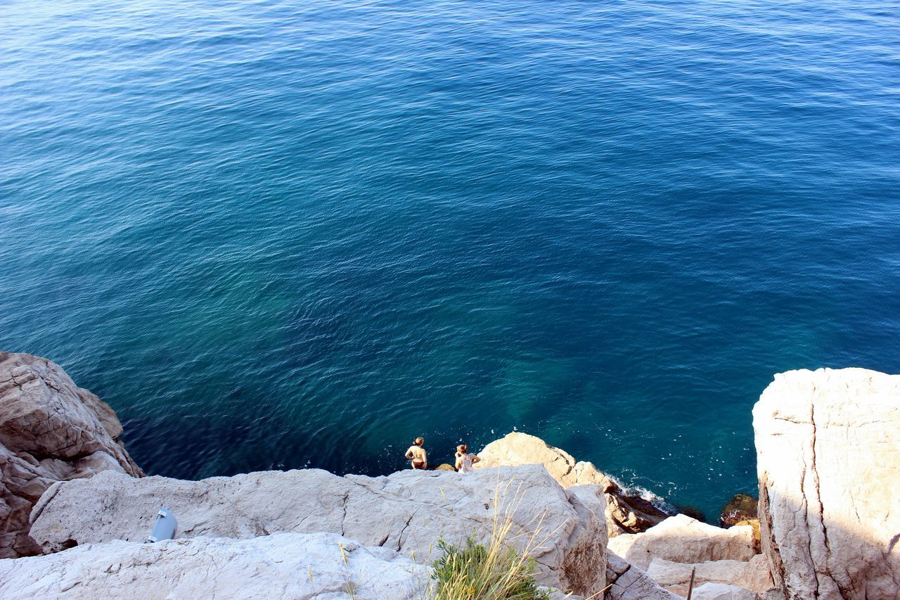 sea, animal themes, water, nature, high angle view, rock - object, mammal, dog, one animal, outdoors, domestic animals, blue, day, no people, pets, tranquility, beauty in nature, beach, scenics