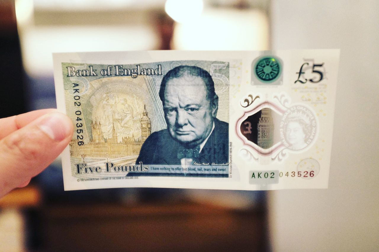 Communication Text Number Western Script Focus On Foreground Close-up Human Finger CHURCHILL Sterling Pound Money Cash