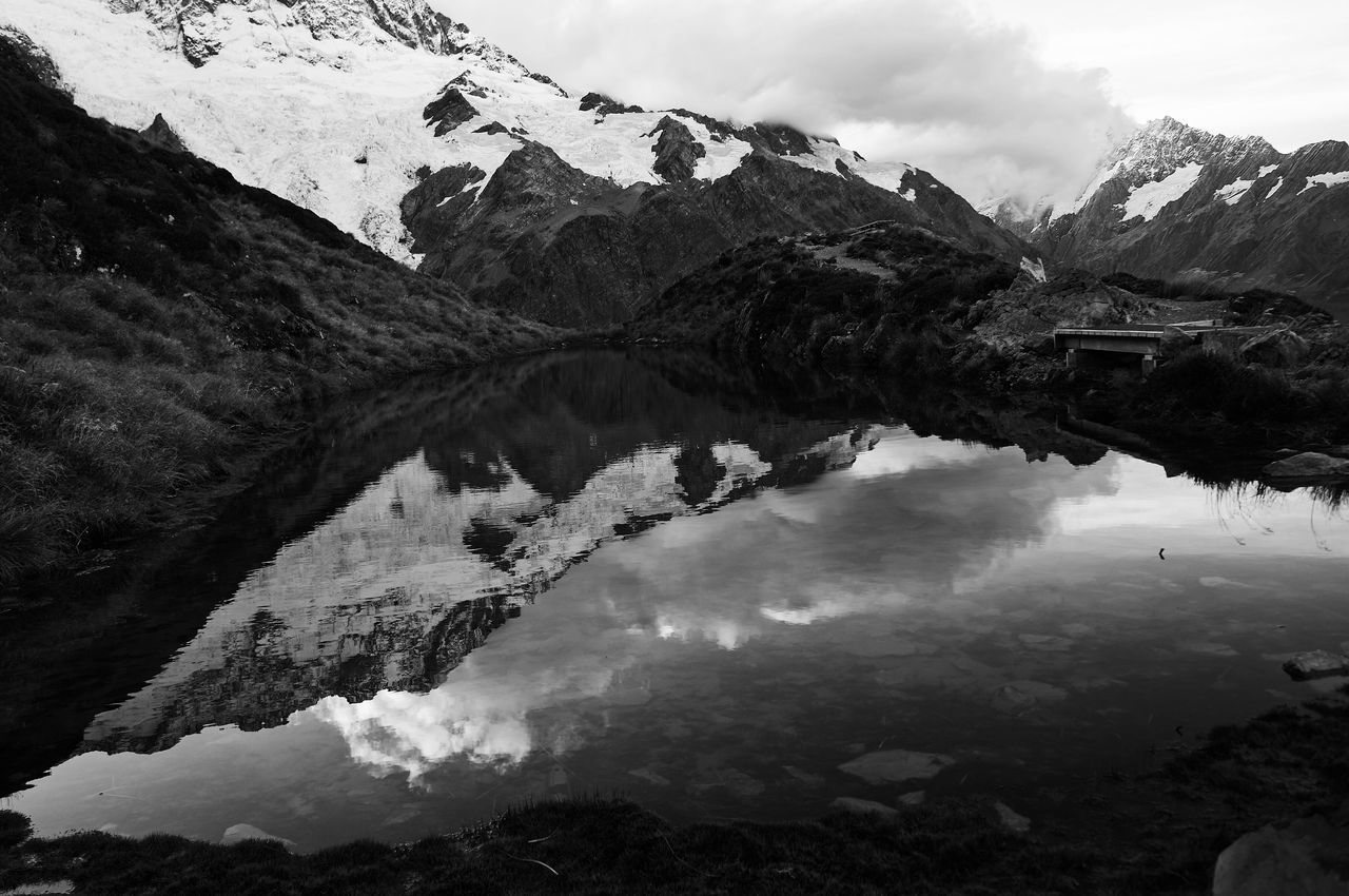 Mountain Beauty In Nature Sky Nature Snow Mountain Range Water Scenics Lake Tranquility Outdoors Landscape No People Day Blackandwhite Black And White Monochrome