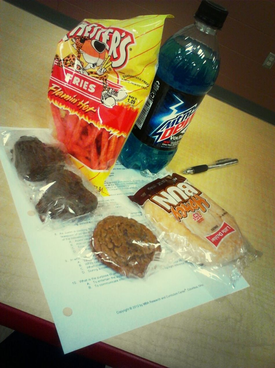 I come to school with snacks every day. lol