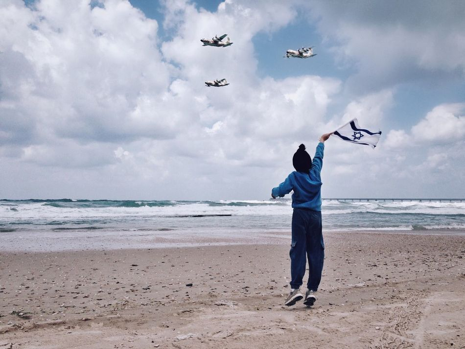 Israel Independence Day Sky Cloud - Sky Sea Beach Sand Airforce Flying Nature One Person Scenics Leisure Activity Beauty In Nature Men Horizon Over Water מייים Full Length מייגיא מיייוםהעצמאות Day Standing Israel Independence Day IPhone5 ShotOniPhone5 מייאייפון5