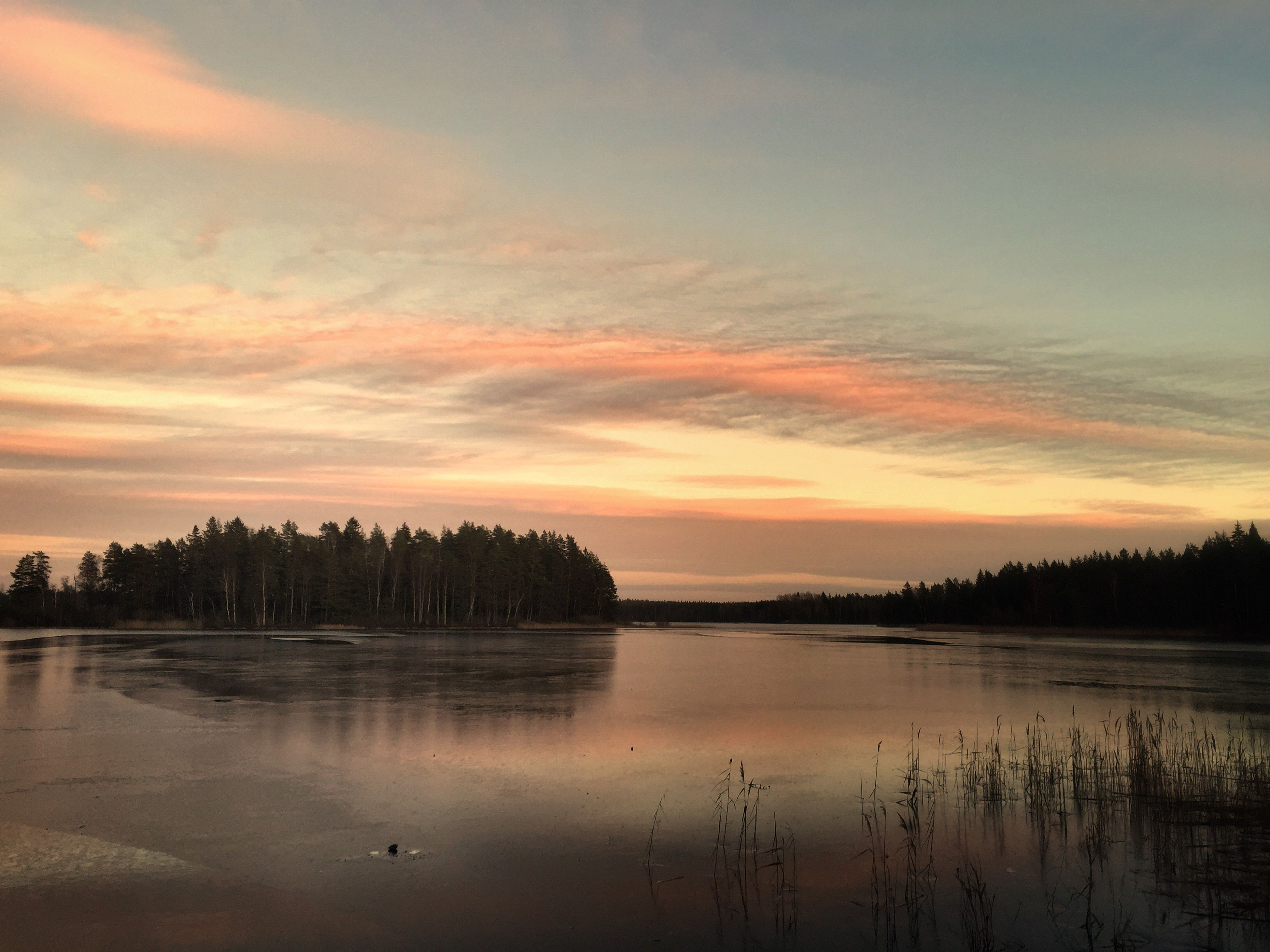 Sky Sunset Beauty In Nature Nature Scenics Reflection Lake Tranquility No People Countryside Winter Småland