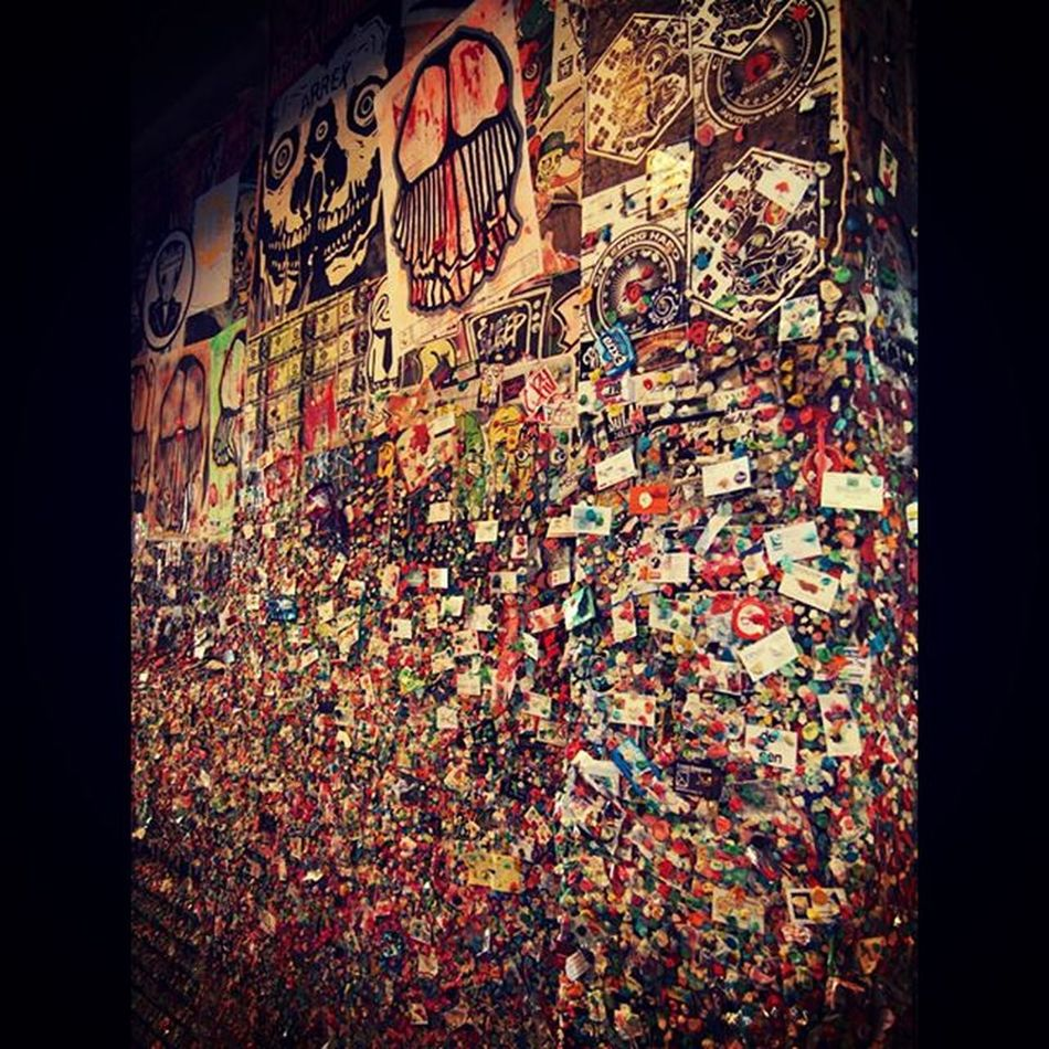 The Gum Wall in Seattle Seattle Gumwallseattle Gumwall Disgusting  Disgustingbutcool Exploreseattle Gum Travel Tavelgram Wanderlust Hiddengem LookButDontTouch Addyourown Tourist Daytrip Seattledaytrip