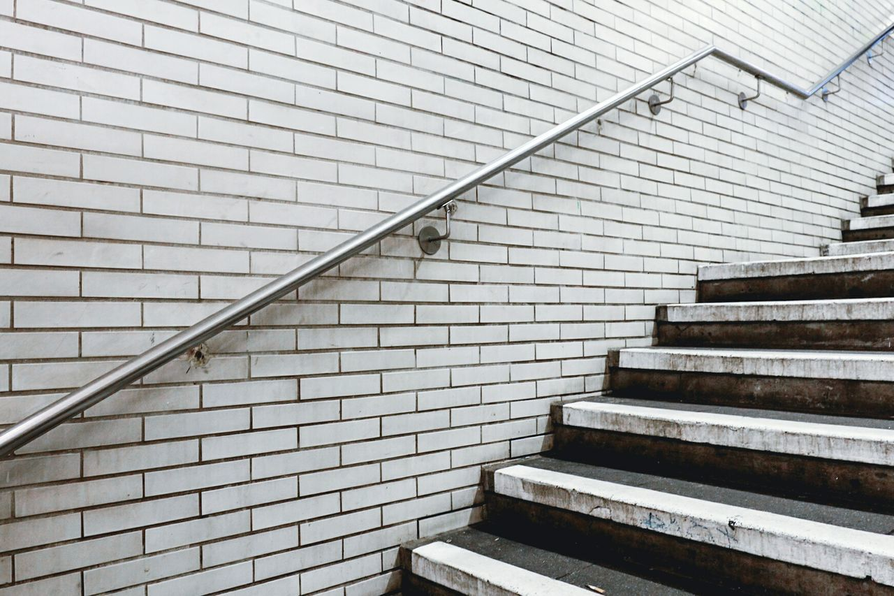Capture Berlin Staircase Steps And Staircases Steps Architecture Built Structure Railing Brick Wall Stairs No People Pattern Ubahn Ubahn Berlin Berlin Stairway