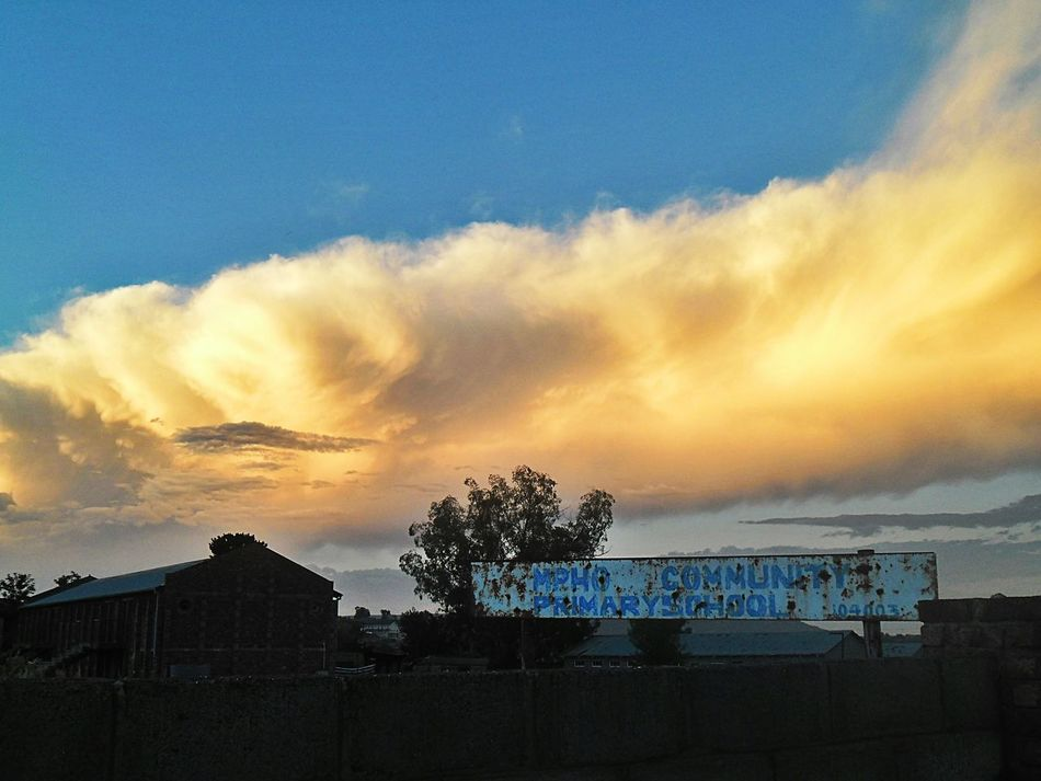 Taking a walk this evening in my hood, I thought the sky was on fire. Clouds Sunset Old School Board Maseru