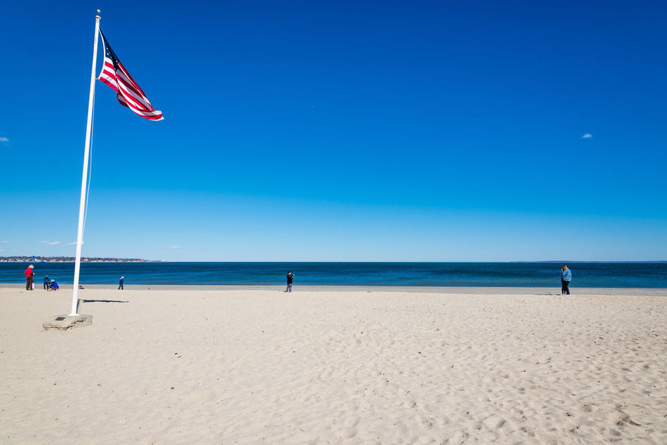 American Flag Blue Sky Bluesky Connecticut Greenwich, CT Sand Seaside Seaside_collection Stars And Stripes Flag Sun, Sand And Sea Tod's Point USA