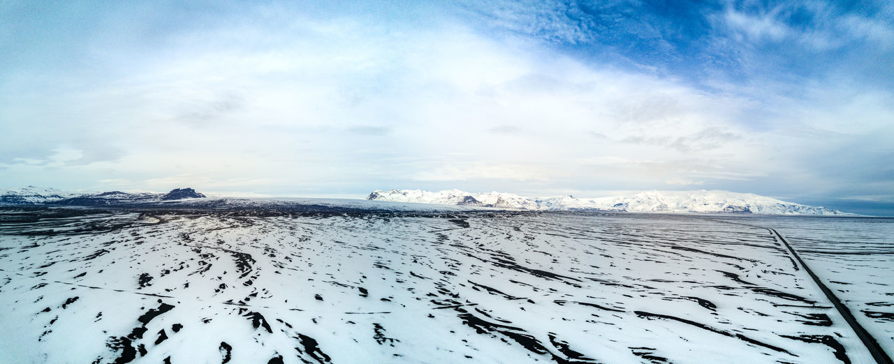 An Iceland winter panorama from high in the sky. Arial Beauty In Nature Cold Temperature Day Drone  Dronephotography From Above  Frozen Ice Iceland Landscape Nature No People Outdoors Panorama Scenics Sky Snow Tranquil Scene Tranquility Weather White Color Winter The Great Outdoors - 2017 EyeEm Awards